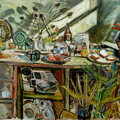 David, in the kitchen with Thistle- John Bratby